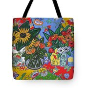 Sunflowers And Poppies Tote Bag