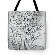 Sunflowers Black And White Tote Bag