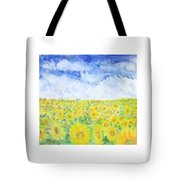 Sunflowers In A Field In  Texas Tote Bag