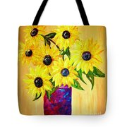 Sunflowers In A Red Pot Tote Bag