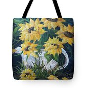 Sunflowers In An Antique Country Pot Tote Bag by Eloise Schneider
