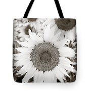 Sunflowers In Back And White Tote Bag