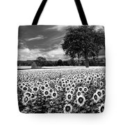 Sunflowers In Black And White Tote Bag