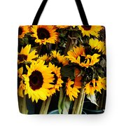 Sunflowers In Blue Bowls Tote Bag