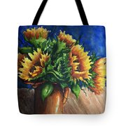 Sunflowers In Copper Tote Bag