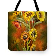Sunflowers In Sunflower Vase Tote Bag by Carol Cavalaris
