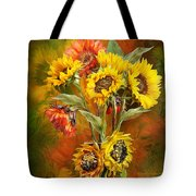 Sunflowers In Sunflower Vase - Square Tote Bag