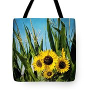 Sunflowers In The Corn Field Tote Bag