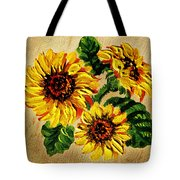 Sunflowers On Wooden Board Tote Bag