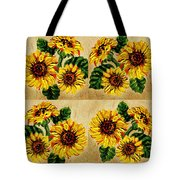Sunflowers Pattern Country Field On Wooden Board Tote Bag