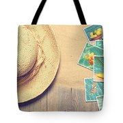 Sunhat And Postcards Tote Bag by Amanda Elwell
