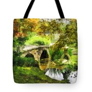 Sunlit Bridge In Park Tote Bag