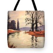 Sunlit River - Chess At Latimer Tote Bag