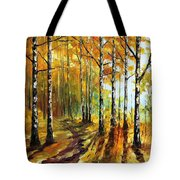 Sunny Birches - Palette Knife Oil Painting On Canvas By Leonid Afremov Tote Bag