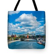 Sunny River And Moscow Kremlin Tote Bag