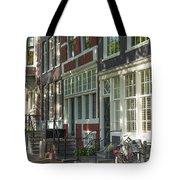 Sunny Street In Amsterdam Tote Bag