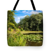 Sunny Summer Day At The Lake Beautiful Green And Blue Colors Tote Bag