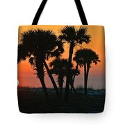 Sunrise And Group Of Palm Trees Tote Bag