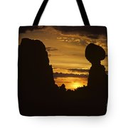 Sunrise Arches National Park With Balanced Rock Silhouetted Agai Tote Bag