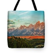 Sunrise At Grand Tetons Tote Bag