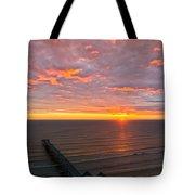 Sunrise At Saltburn Pier And Seafront Portrait Tote Bag