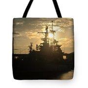 Sunrise At The Naval Base Silhouette Erie Basin Marina V1 Tote Bag