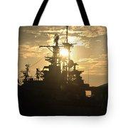 Sunrise At The Naval Base Silhouette Erie Basin Marina V2 Tote Bag