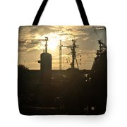 Sunrise At The Naval Base Silhouette Erie Basin Marina V4 Tote Bag