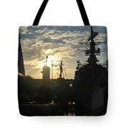 Sunrise At The Naval Base Silhouette Erie Basin Marina V5 Tote Bag