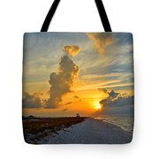 Sunrise Colors Over Navarre Beach With Stormclouds Tote Bag