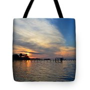 Sunrise Colors With Red Sky At Morning Sailor's Warning Tote Bag