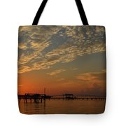 Sunrise Colors With Storms Building On Sound Tote Bag