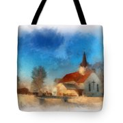 Sunrise On A Rural Church 03 Tote Bag