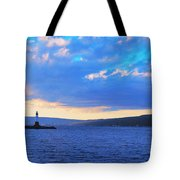 Sunrise On Cayuga Lake Ithaca New York Panoramic Photography Tote Bag by Paul Ge