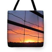 Sunrise On Fence Tote Bag