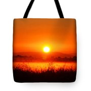 Sunrise On The Rice Fields Tote Bag