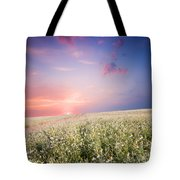 Sunrise Over Flower Land Tote Bag