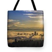 Sunrise Over Foggy Portland Tote Bag