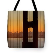 Sunrise Over San Francisco Bay Through Golden Gate Bridge Tote Bag