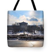 Sunrise Over The Art Museum In Winter Tote Bag