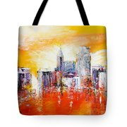 Sunrise Over The City Of Oaks Tote Bag