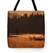 Sunrise Over The Yellowstone River Tote Bag