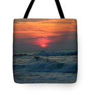 Sunrise Over Waves Tote Bag