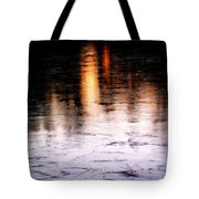 Sunrise Reflected On Icy Pond Tote Bag