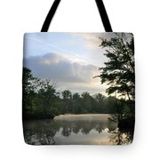 Sunrise With A Jet Trail Tote Bag