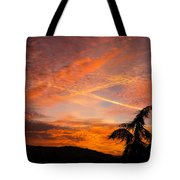 Sunrise With Orange And Red Clouds In The Sky Tote Bag