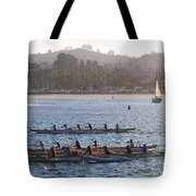Sunset Activity At The Harbor Tote Bag