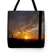 Sunset Along The Fence Yellow Red Orange Fine Art Photography Print  Tote Bag