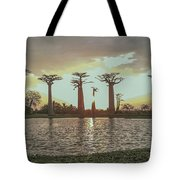 Sunset And Baobab Trees Tote Bag