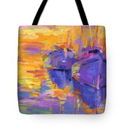 Sunset And Boats Tote Bag